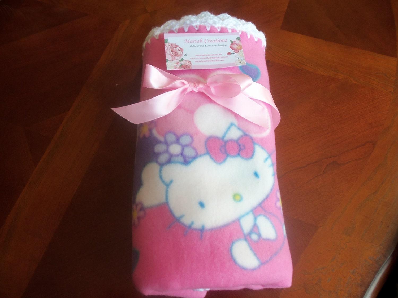 Crochet Pattern For Hello Kitty Baby Blanket : Hello Kitty Fleece Baby Blanket with White Crochet Edge
