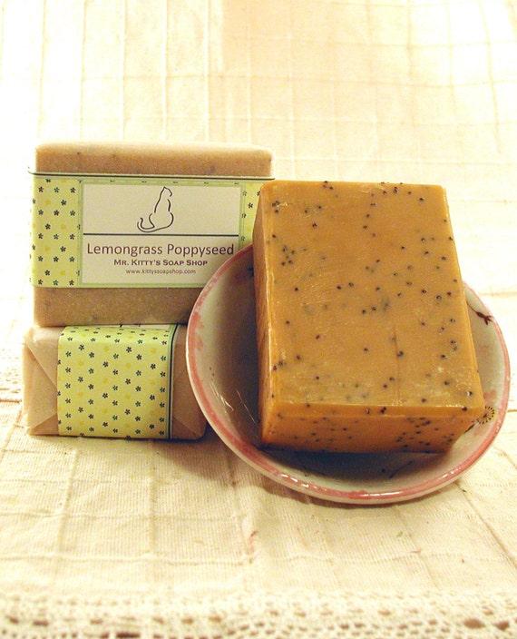 La La Lemongrass Poppy Seed - Handcrafted Exfoliating Shea Butter Soap