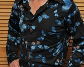1970s Vintage Mens Polyester Shirt Dark Navy Blue with Butterfly Design