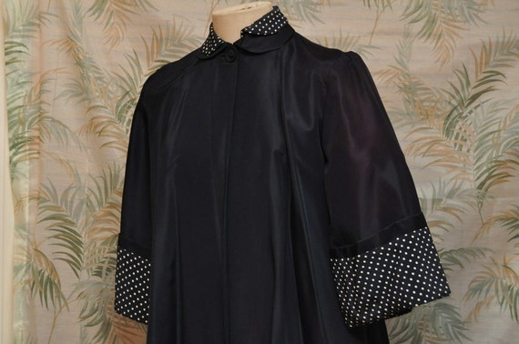 1940s or 1950s Mid Century Outerwear or Coat in Navy Blue with Polka Dot Trim