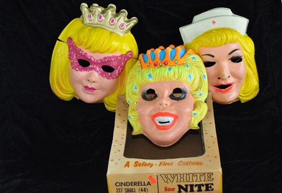Vintage Set of 3 Halloween Masks Blonde Girly Themes 1960s Era Includes 1 Box