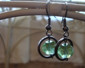Green Faceted Glass Globes on Gunmetal
