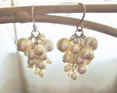 Grape Cluster Earrings / Pearl / in Ivory or White
