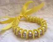 Canary Yellow and Grey Ribbon Bracelet / Cuff