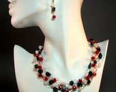 Adjustable Wire Crochet Necklace and Earring Set in Faceted Red Quartz, Blackstone and White Agate