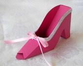 Paper Shoe Gift Favor Box Raspberry PInk High Heel