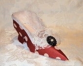 Polka Dot Love Victorian Paper Shoe Gift Box Favor Box OOAK