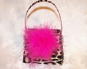 Paper Purse Leopard Print and Hot Pink Gift Box Favor Box