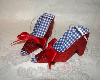 Paper Shoe Ornaments, Ruby Slipper Paper Shoe Ornaments set of 2