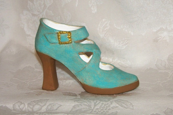 ceramic shoe turquoise strappy high heel ooak
