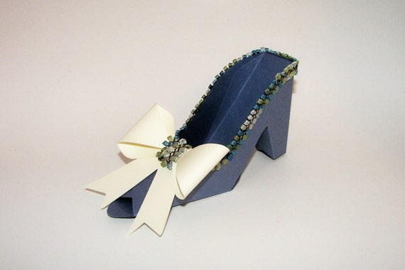 Blue High Heel Paper Shoe with Large Beige Bow