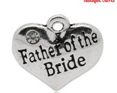 """1 or 2 or 4 or 10 pcs. Antique Silver """"Father of the Bride"""" charm with rhinestone- 16 mm X 14 mm"""
