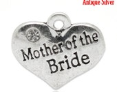 """1 or 2 or 4 or 10 pcs. Antique Silver """"Mother of the Bride"""" charm with rhinestone- 16 mm X 14 mm"""