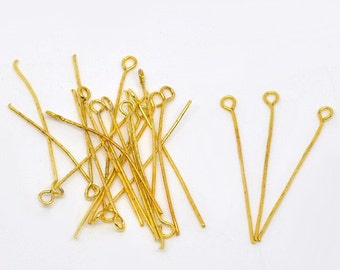 400 pcs. Gold Plated Eye Pins - 50mm x 0.7mm (2 inch) - 21 Gauge