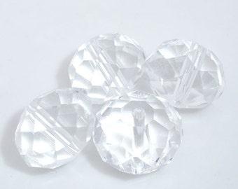 50 pcs Clear Crystal Quartz Faceted Rondelle Beads - 12mm