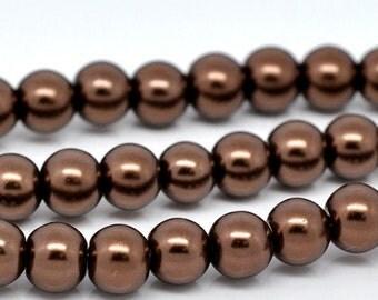 6mm Dark Brown Glass Pearl Imitation Round Beads - 32 inch strand