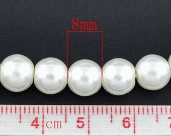 8mm White Glass Pearl Imitation Round Beads - 32 inch strand