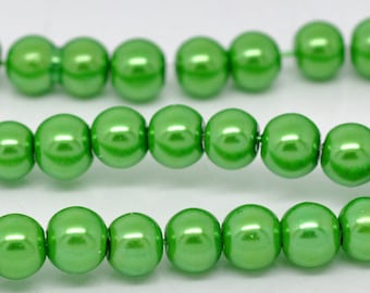 8mm Green Glass Pearl Imitation Round Beads - 32 inch strand