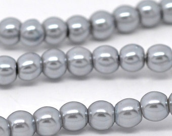 8mm Silver Grey Glass Pearl Imitation Round Beads - 32 inch strand