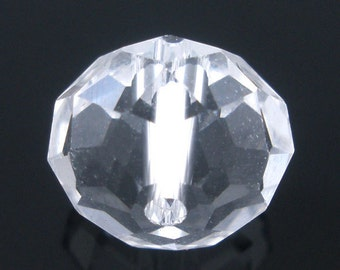 10 or 30 or 50 pcs Clear Crystal Quartz Faceted Rondelle Beads - 10mm - Hole Size: 1.4mm