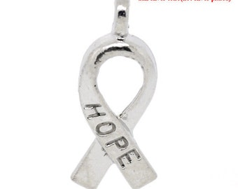 100 pcs. Silver Tone Hope Breast Cancer Awareness Charm Pendants - 19x8mm