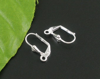 50 pcs Silver Plated Leverback Earrings - 17x10mm