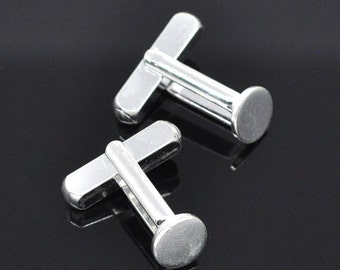 Lot of 10 Silver Plated Flat Cuff Links (5 pairs) - 8 mm Glue Pad