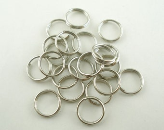 SALE - 500 pcs Double Rings - Silver Tone Split Open Jump Rings - 10mm - 21 Gauge