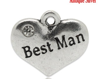 """1 or 2 or 4 pcs. Antique Silver """"Best Man"""" charm with rhinestone - 16mm X 14mm"""
