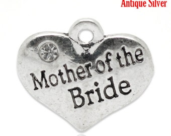 "1 or 2 or 4 or 10 pcs. Antique Silver ""Mother of the Bride"" charm with rhinestone- 16mm X 14mm"