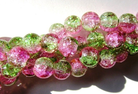 95 pcs Guava - Green and Pink Crackle Glass Round Beads - 6mm