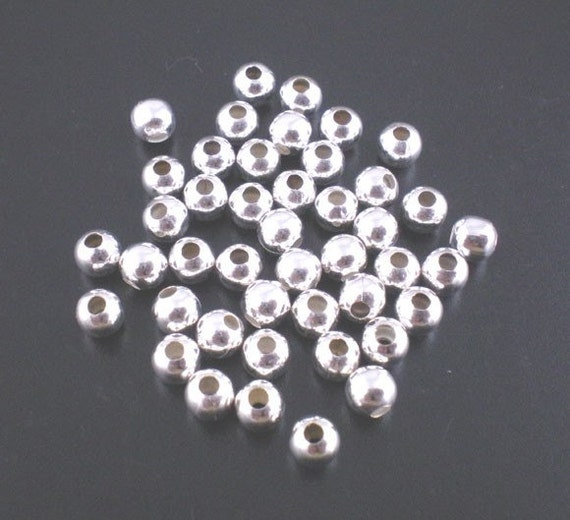 500 pcs Silver Plated Alloy Smooth Ball Spacer Beads- 4mm
