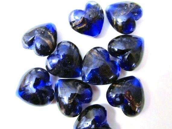 LAST PIECES - 7pcs. Deep Ocean Blue Striped Glass Foil Lampwork Dichroic Heart Pendant Bead - 19 X 20mm