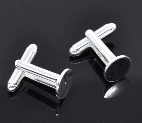 Lot of 20 Silver Plated Cuff Links (10 pairs) - 10mm Glue Pad