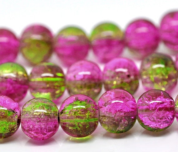 ON SALE - Guava - Green and Pink Crackle Glass Round Beads - 8mm - 32 in strand