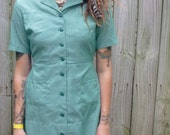 1960's Green Girl Scout Mini Dress