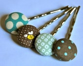 SALE 50% OFF EVERYTHING see shop announcement for details - teal and brown - fabric button bobby pins