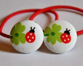SALE 50% OFF EVERYTHING see shop announcement for details - ladybug and four leaf clover fabric button ponytail holders