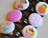 pinkalicious - collection of eight fabric covered pink button hair clips