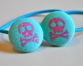 SALE 50% OFF EVERYTHING see shop announcement for details - pink and aqua skull and crossbone fabric button ponytail holders