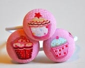 trio of cupcakes - fabric covered button ponytail holders