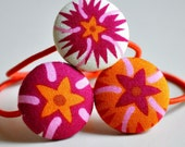 sunshine flowers fabric covered button ponytail holders