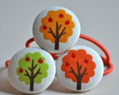 SALE 50% OFF EVERYTHING see shop announcement for details - trio of trees fabric button ponytail holders