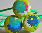 spring green and aqua flowers -  fabric button ponytail holders