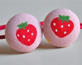 summer strawberry pink and red fabric button ponytail holders