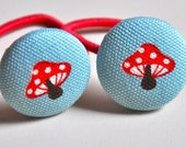SALE 50% OFF EVERYTHING see shop announcement for details - mini red mushrooms on aqua - fabric covered button ponytail holders