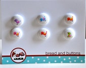 little birds - set of six - fabric covered buttons for sewing or knitting