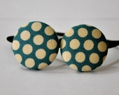 SALE 50% OFF EVERYTHING see shop announcement for details - teal and cream polka dots fabric covered button ponytail holders