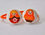 mini matryoshka dolls in pink and orange - fabric covered button ponytail holders