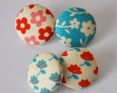 SALE 50% OFF EVERYTHING see shop announcement for details - red and aqua florals - set of four fabric button pushpins
